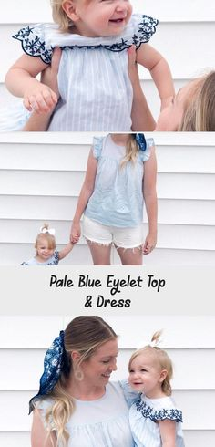 Pale Blue Eyelet | Everley & Me | Omaha Based Mommy & Me Style Blog... Hair Scarf Blue Blouse Embroidered Dress Kids Womens Bows Matching Outfits Family, Mother/Daughter Photoshoot #Curlysummerhairstyles #summerhairstylesForMediumHair #summerhairstylesForKids #summerhairstylesForMoms #Quicksummerhairstyles