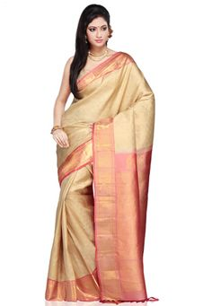 Beige Pure Gadwal Handloom Silk Saree with Blouse
