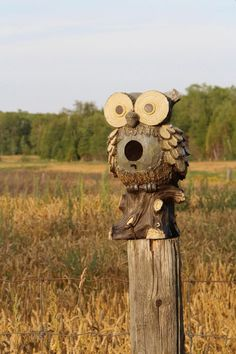 I love the humor and artistry behind this cute owl birdhouse!! Made me laugh!!!
