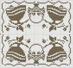 point de croix femme crinoline et panier - cross stitch crinoline ladies and basket