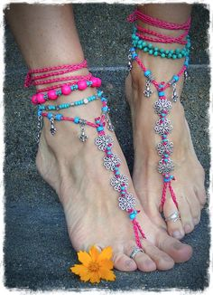 Hawaii ANKLE Bracelet HOT PINK anklet beaded Neon Anklet by GPyoga, $39.00