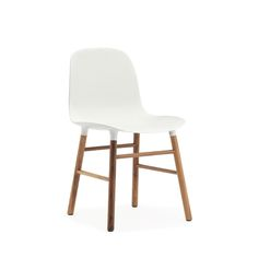 Buy Form Chair - Wood Legs from Normann Copenhagen. With the mission of creating a shell chair with a more unified look that would stand as one cohesive. Chaise Panton, Chaise Dsw, Modern Dining Chairs, Dining Furniture, Furniture Design, White Furniture, Ikea Dining, Walnut Furniture, Dining Room