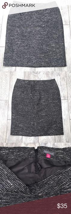 """Vince Camuto black and white pencil skirt 10 Vince Camuto black and white pencil skirt. Sparkly threads intertwined between black and white. Fully lined. EUC- no flaws or damage. Size 10. 23"""" length, 16.5"""" waist Vince Camuto Skirts Pencil"""