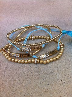 Love Faith & Hope Stackable gold and Blue by GlitzGlamourandBling, $24.00