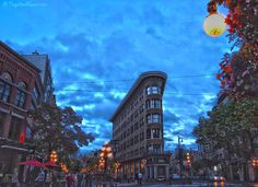 Vancouver's oldest neighbourhood, the trendy Gastown, on Saturday night.  Pretty, isn't it!  Gastown, Vancouver, British Columbia, BC, Canada, ExploreBC