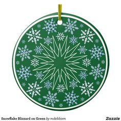 Snowflake Blizzard on Green Double-Sided Ceramic Round Christmas Ornament