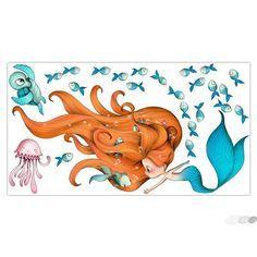 Très beau sticker enfant sur le thème de la petite sirène barbotant en compagnie de ses amis les poissons, tortue et poulpe, créé par Emmanuelle Colin.
