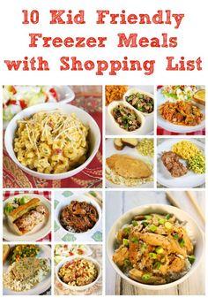 10 Kid Friendly Freezer Meals with Shopping List (via Bloglovin.com )