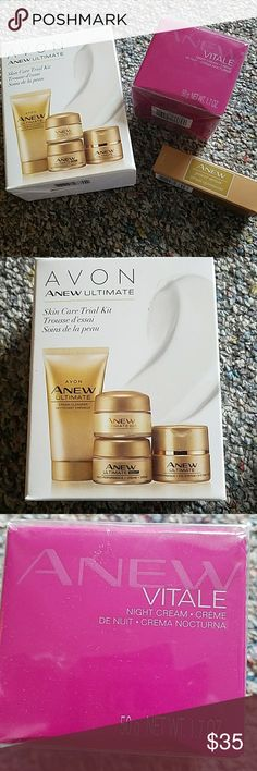Skincare sets Brand new unopened avon anew skincare. You will get 1 anew ultimate trail kit includes day/night creme eye system and cleanser. Anew vitals night creme and one power serum. Avon Makeup