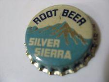 One vintage unused Silver Sierra Root Beer cork-lined soda bottle cap.