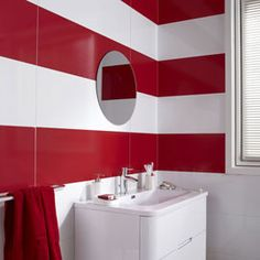 Rooftop Deck, Red And White, Black, Mirror, Interior, Furniture, Design, Home Decor, Bathrooms