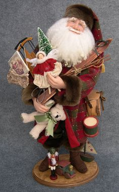 """Glad Tidings"" one-of-a-kind polymer clay sculpted Santa by Diane Troutman"