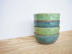 Sea Mist and spring green stoneware pottery bowls (set of 4) by dorothydomingo on etsy