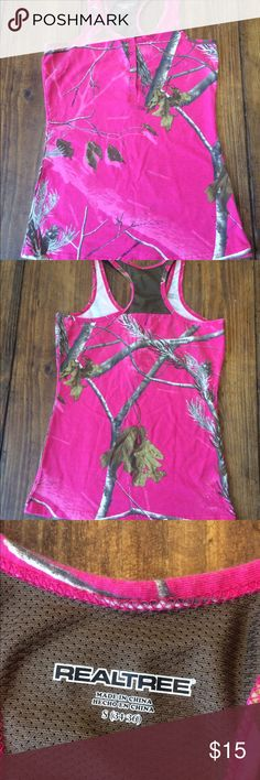 Camo top Hot pink camo tank top, only wore once Realtree Tops Tank Tops