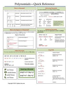 This is a great reference page about polynomials. It covers all the different parts of polynomials and is a great reference for students. Algebra Help, Maths Algebra, Math Help, Math Multiplication, Math Teacher, Math Classroom, Teaching Math, College Math, 8th Grade Math