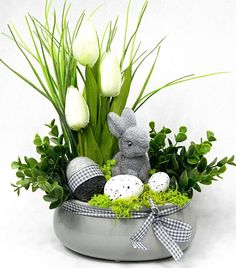 An Easter arrangement Easter Flower Arrangements, Easter Flowers, Easter Bunny Decorations, Easter Wreaths, Easter Projects, Easter Crafts, Cloche Decor, Easter Holidays, Spring Crafts