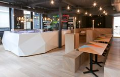 Yoobi Sushi Restaurant in London. I'm thinking about replicating the painted geometric tables.