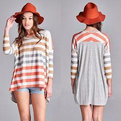 SAMANTHA loose fit stripe top - ORANGE mix Stripe loose top Fabric 62% Polyester 33% Rayon 5% Span Made in USA Bellanblue Tops Blouses