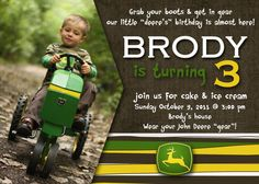 John Deere Birthday Party Invitations Fabulous With John Deere Birthday Party Invitations . John Deere Birthday Party Invitations Fabulous With John Deere Second Birthday Ideas, 3rd Birthday Parties, Birthday Fun, Birthday Stuff, Tractor Birthday Invitations, John Deere Party, Kids Party Themes, Party Ideas, Farm Party