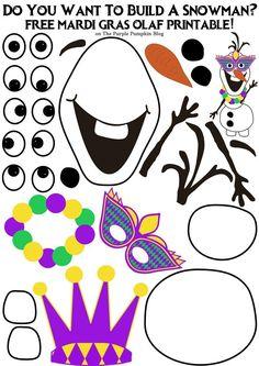 Do you want to build a snowman? Mardi Gras Olaf Edition, Do you want to build a. - Do you want to build a snowman? Mardi Gras Olaf Edition, Do you want to build a snowman – free O - Mardi Gras Centerpieces, Mardi Gras Decorations, Mardi Gras Mask Template, Mardi Gras Activities, Olaf Craft, Imprimibles Toy Story Gratis, Mardi Gras Outlet, Build A Snowman, Olaf Snowman