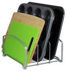 DecoBros Kitchen Houseware Organizer Pantry Rack, Silver - about 2.75 inches between verticals