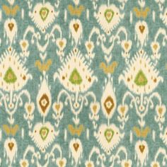 Balboa Ikat Fabric By The Yard:  Mediterranean Ikat pattern of turquoise, camel, sand and mint printed on a thick basket weave of 100% cotton