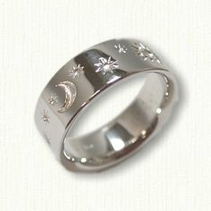 14kt White Gold Sun Stars and Moon Wedding Band - 7.0 mm width