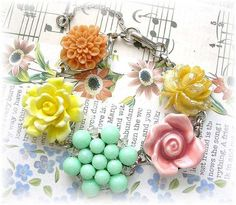 At Tophatter Right now for Auction Vintage Cluster Earring Bracelet
