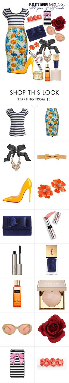"""""""Mixing stripes and florals"""" by grace-buerklin ❤ liked on Polyvore featuring Debenhams, CO, GUESS by Marciano, Liebeskind, Christian Louboutin, Kenneth Jay Lane, INC International Concepts, Ciaté, Ilia and Yves Saint Laurent"""