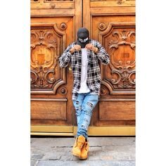 WEBSTA @ stephanethakid - P O S T E D ... @champaris75 #champaris Tims Outfits, Swag Outfits Men, Timberland Outfits Men, Men Looks, Dope Outfits For Guys, Urban Fashion, Mens Fashion, Drake Clothing, Streetwear Fashion