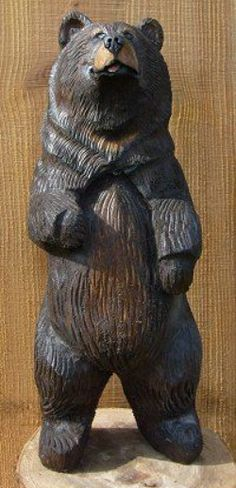 Carved wood bears.