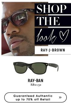 Ray J Brown with rayban Sunglasses. Sunglasses Shop, Black Sunglasses, Ray Ban Sunglasses, Ray Ban Men, Eyeglasses, Legends, Ray Bans, Brown, Amazing