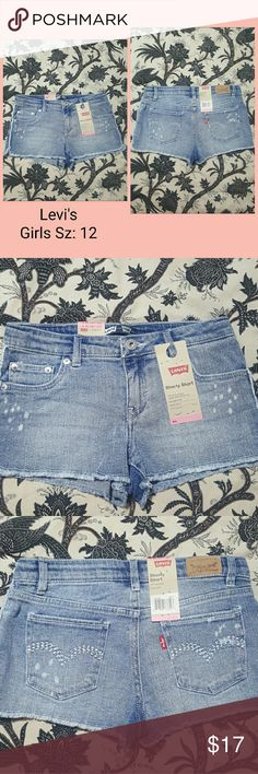 *NEW* Levi's Denim Shorts Girls Sz 12 *NEW with TAGS*   Levi's Denim Shorts  Girls SIZE 12 Levi's Bottoms Shorts
