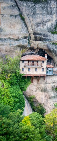 A cliff bound monastery in Meteora, Greece