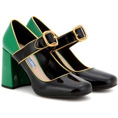 Prada Patent Leather Pumps ($790) ❤ liked on Polyvore featuring shoes, pumps, black, patent leather shoes, black patent leather shoes, black pumps, prada pumps and black patent shoes