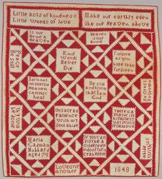 """""""Little acts of kindness, little words of love. Make our earthly eden, like our Heaven above"""" Gorgeous Antique Folk Art Quilt. 1848 american folk, christian, art museum, white quilt, folk art, museums, quilts, antiqu quilt, antiqu folk"""