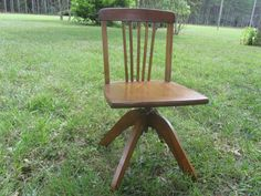 Vintage Child's Desk Chair, Swivel Seat Wood chair, Furniture, Antique Wood Chair, Childs Chair by KarensChicNShabby on Etsy