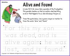 Trace the Quote from the Prodigal Son Parable - Kids Korner - BibleWise