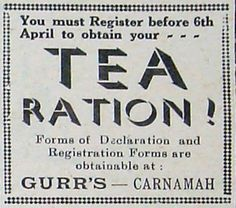 Advertisement from early April 1942 advising the deadline to register for tea rationing. In the interests of business forms could be obtained at Eric H. Gurrs general store at 7 Macpherson Street in Carnamah.