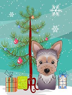 Caroline's Treasures BB1604CHF Christmas Tree and Yorkie Puppy Canvas House Flag, Large, Multicolor => Quickly view this special product, click the image : Garden Christmas Decorations