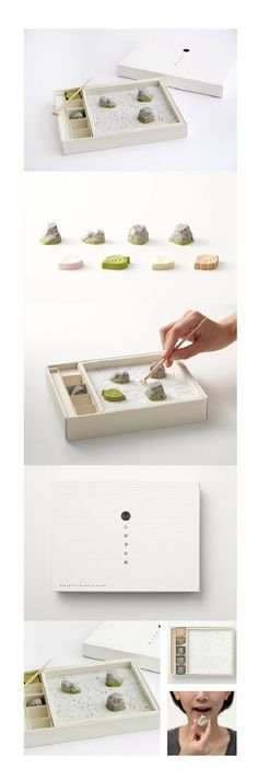 Edible zen garden with black sesame rocks and sugar sand. Here's the extended pin on this beautiful Zen packaging design. Bio Packaging, Japanese Packaging, Brand Packaging, Packaging Design, Branding Design, Dessert Packaging, Bakery Packaging, Coffee Packaging, Bottle Packaging