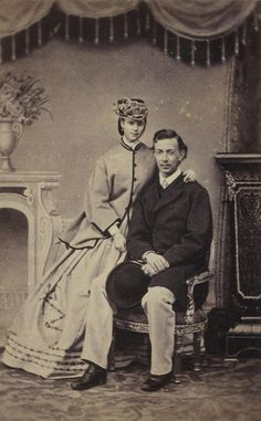 Tsarevich Nicholas of Russia with his fiancee, Princess Dagmar of Denmark. 1864