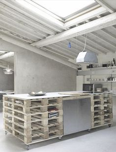 = stacked pallet workspace kitchen or studio