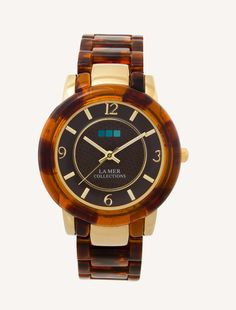 Gold Tortoise Shell Indo Lucite-Brown Dial #TimeToSee