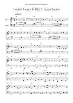 play popular music, free piano sheet music, Locked Away, R. City, Adam Levine