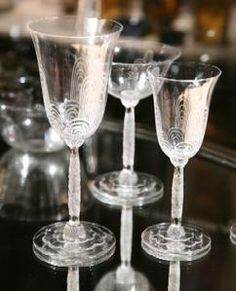Baccarat 1920s crystal champagne glasses