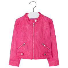 Leatherette jacket with decorative buttons and zip fastening. Magenta, Red Leather, Leather Jacket, Kind Mode, Zip, Girls, Products, Fashion, Leather Jackets