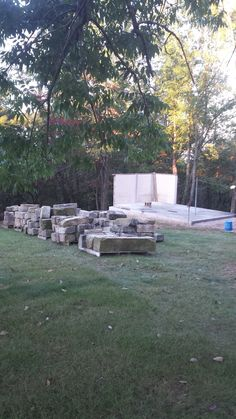 tearing down dog kennel and building stone garden shed in its place
