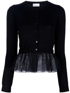 Red Valentino Netted Peplum Cardigan in Black - Lyst...add silk , chiffon or lace peplums to short cardigans or tunic sweaters
