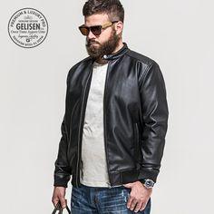 Gelisen marca para hombre Vintage chaqueta de cuero lavado con con más tamaño béisbol de moda 2015 nuevos hombres de invierno de la motocicleta Slim Fit Pu